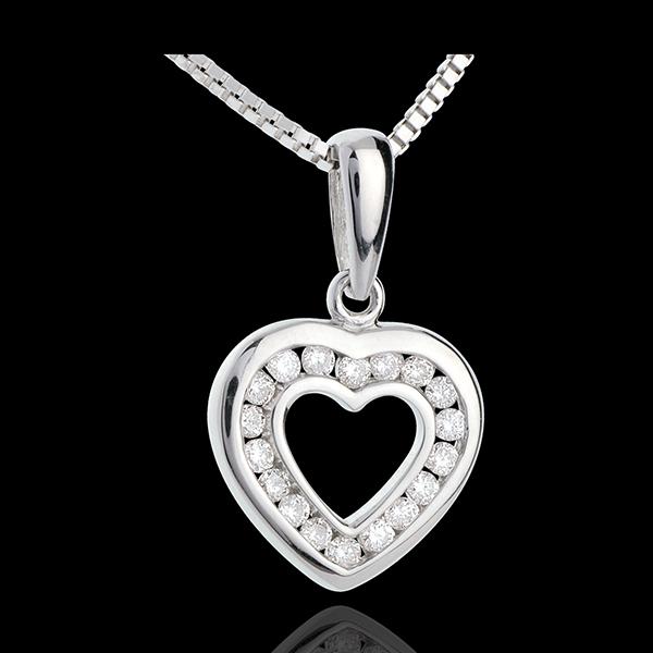 Herzanhänger Spiegelbild in Weissgold - 18 Diamanten