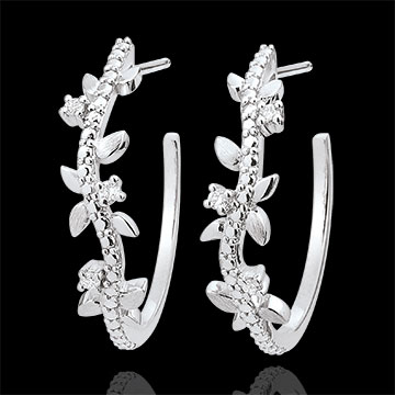 Hoop Earrings Enchanted Garden - Foliage Royal - white gold and diamonds - 9 carats