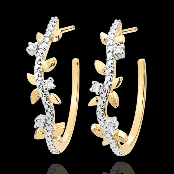 Hoop Earrings Enchanted Garden - Foliage Royal - yellow gold and diamonds - 9 carats