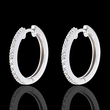 Hoops semi-paved white gold - 26 diamonds