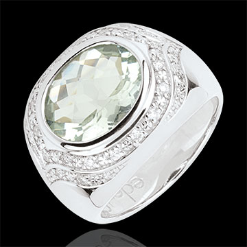 Horus Green Amethyst Ring - Silver, diamonds and fine stones