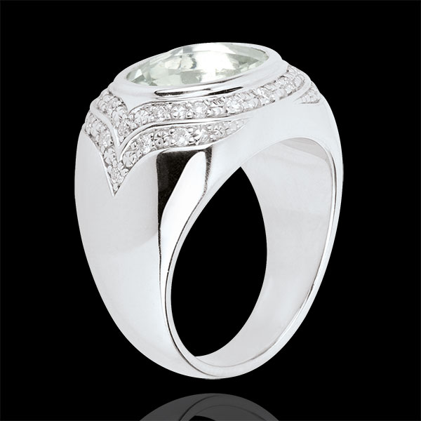 Horus Green Amethyst Ring - Silver, diamonds and fine stones