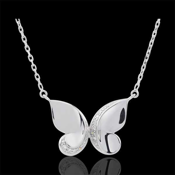 Imaginary Walk Necklace - Butterfly Cascade - White Gold - 9 carats