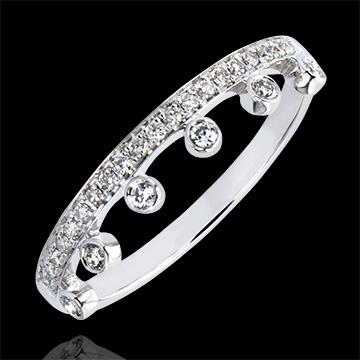 Inel Abundenţă - Maiestate - aur alb 9K şi diamante