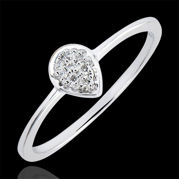 Inel Abundenţă - Picătură Preţioasă - aur alb 9K şi diamante