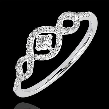 Inel Abundenţă - Spirale - aur alb 18K şi diamante