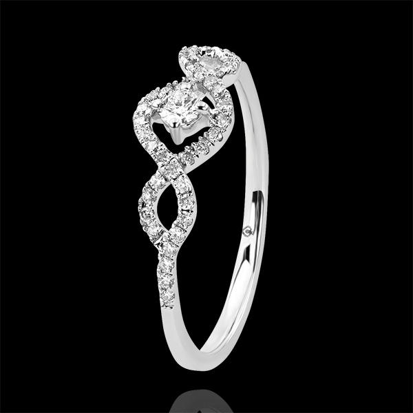Inel Abundenţă - Spirale - aur alb 9K şi diamante