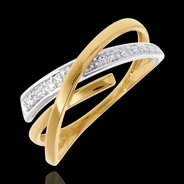 Inel Acrobaţie pavat - 3 diamante - aur alb şi aur galben de 18K
