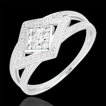 Inel Andromaca din aur alb de 18K şi diamante