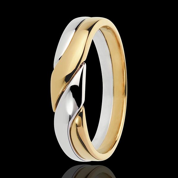 Inel Atracţie - aur alb şi aur galben de 18K
