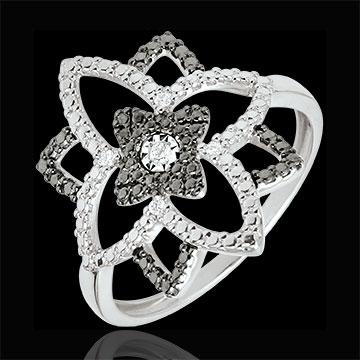 Inel aur alb de 9K şi diamante negre Clar Obscur - Floarea Lunii