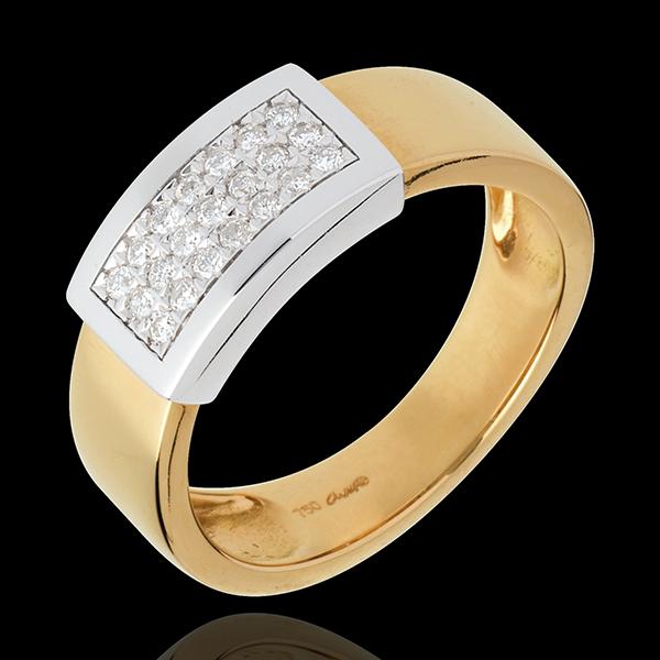 Inel Brâu pavat - aur alb şi aur galben de 18K