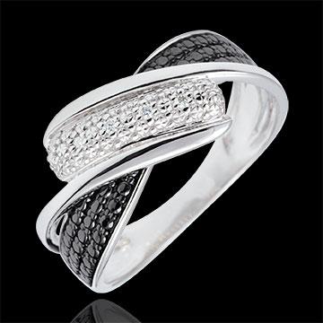 Inel Clar Obscur - Mişcare - diamante albe - aur alb de 9K