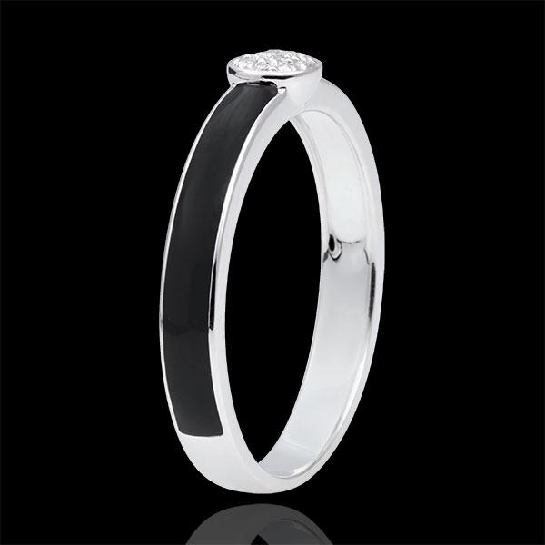 Inel Clar Obscur Solitaire - lac negru şi diamante de 0.04 carate - aur alb de 18K