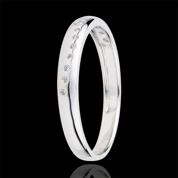 Inel cu diamante Nupţial - aur alb de 9K