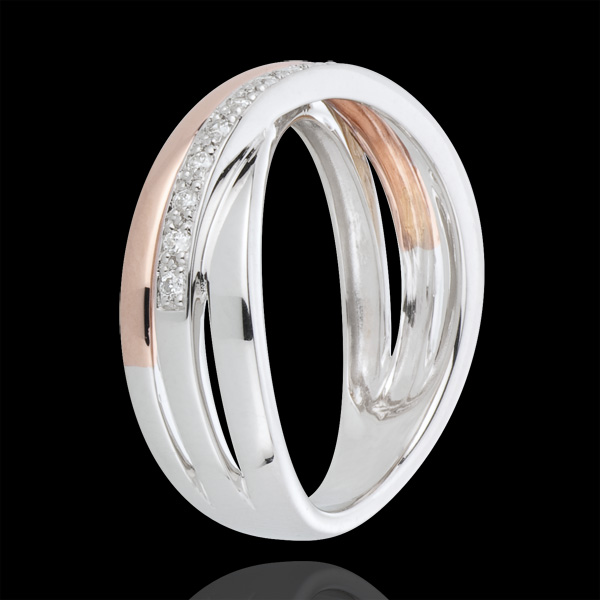 Inel cu diamante zale - aur alb şi aur roz de 18K