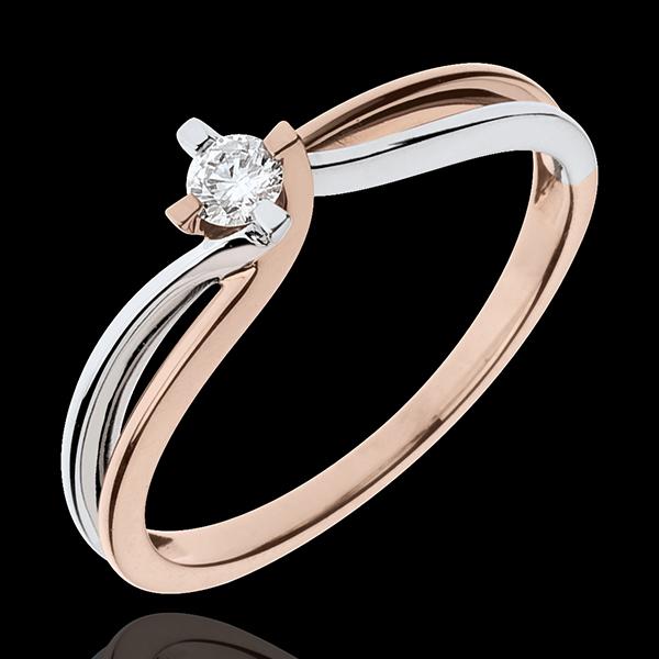 Inel Cuib Preţios - Claire - diamant 0.11 carate - aur alb şi aur roz de 18K
