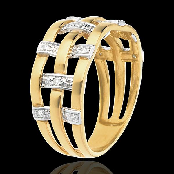 Inel cusătură din aur galben de 18K pavat cu diamante - 11 diamante