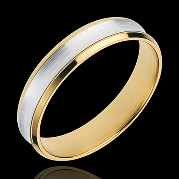 Inel Dandy - 4mm - aur alb şi aur galben de 18K