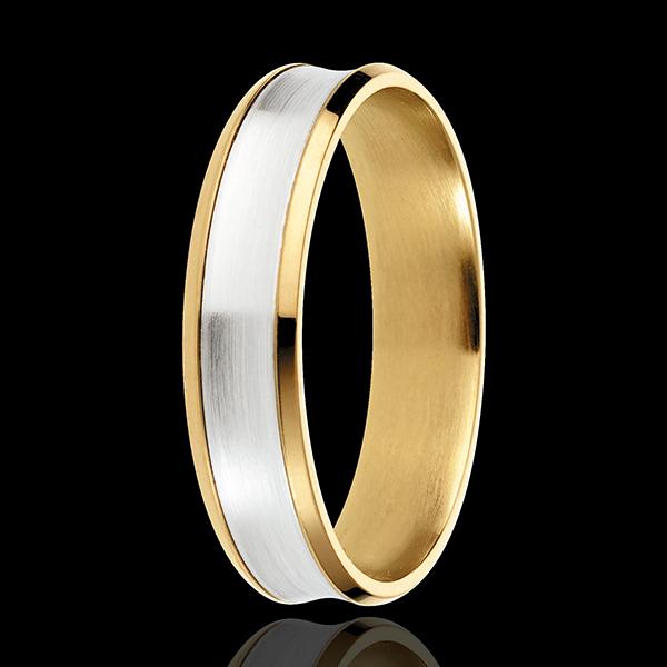Inel Dandy - 5mm - aur alb şi aur galben de 18K