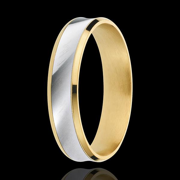 Inel Dandy - 5mm - versiune - aur alb şi aur galben de 18K