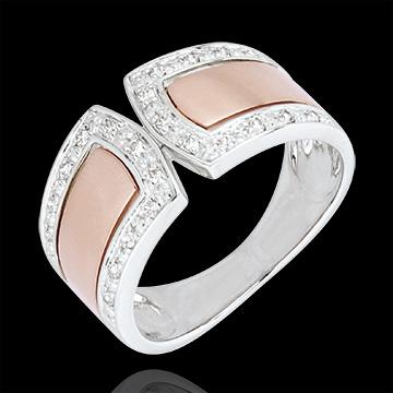 Inel Destin - Imperial şi diamante - aur alb şi aur roz de 18K