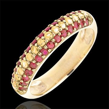 Inel Drapel Spaniol Aur Galben De 9k şi Pietre Preţioase