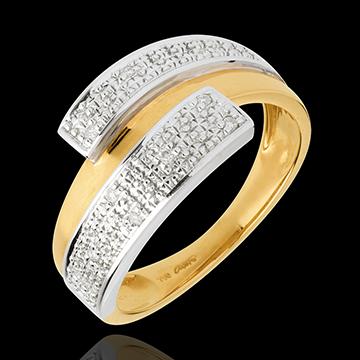 Inel Dublă-Emisferă pavat - aur alb şi aur galben de 18K