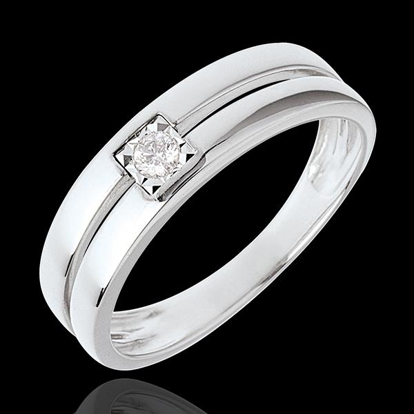 Inel dublu şir cu diamant central - 0.05 carate - aur alb de 18K