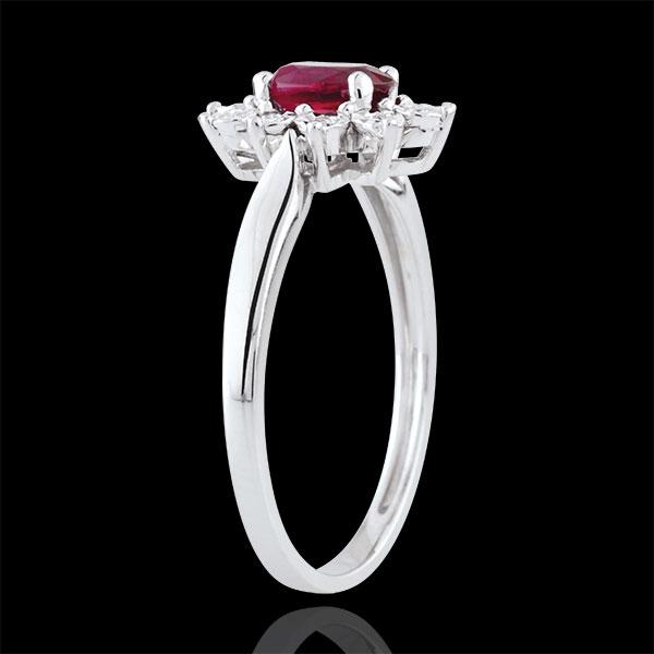 Inel Eternel Edelweiss - rubine şi diamante - aur alb de 18K
