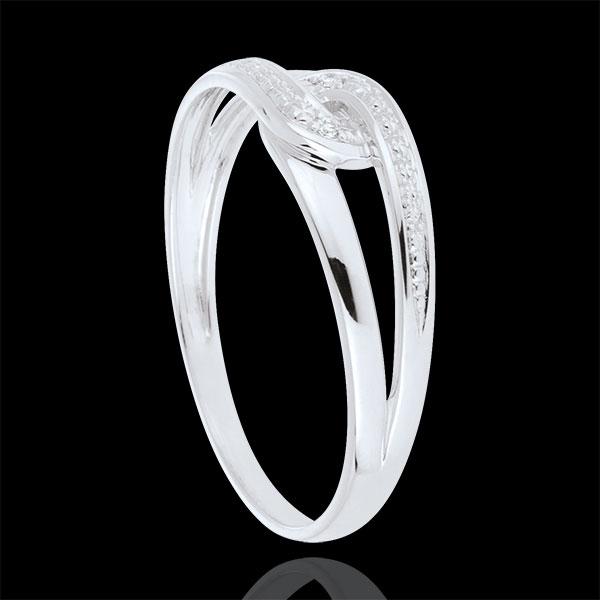 Inel Evita din aur alb de 9K cu diamant