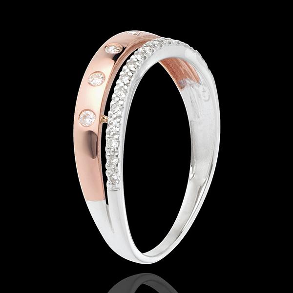 Inel Feerie - Coroană de Stele - mode mic - 22 diamante - aur alb şi aur roz de 18K