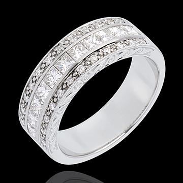 Inel Feerie - Direcţia Venus - aur alb de 18K semi pavat - 0.87 carate - 35 diamante