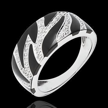 Inel Felină Sălbatică - lac negru şi diamante - aur alb de 18K
