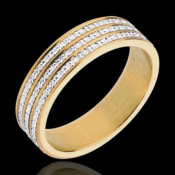 Inel fineţe infinită - aur alb şi aur galben de 18K