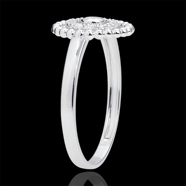 Inel Floare de Sare - cerc - aur alb de 9K