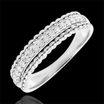 Inel Floare de Sare - două inele - aur alb de 18K