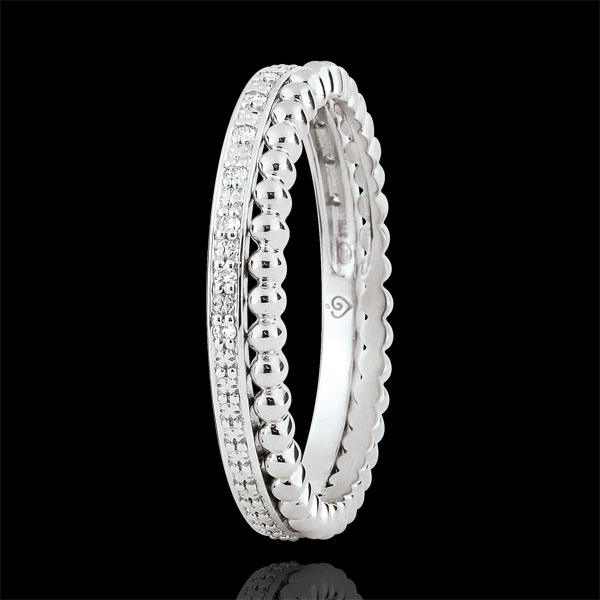 Inel Floare de Sare - şir dublu - diamante - aur alb de 18K