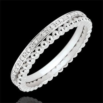 Inel Floare de Sare - şir dublu - diamante - aur alb de 9K