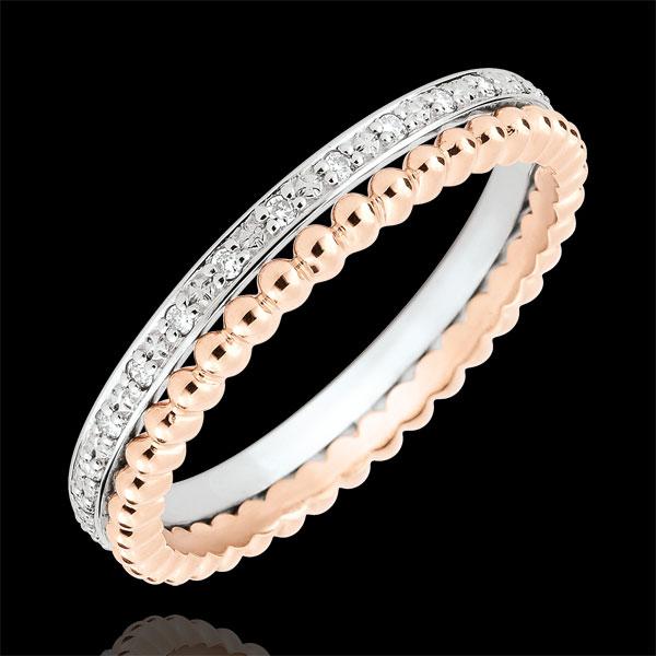 Inel Floare de Sare - şir dublu - diamante - aur roz şi aur alb de 9K