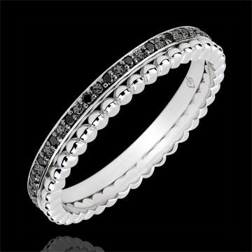 Inel Floare de Sare - şir dublu - diamante negre - aur alb de 18K
