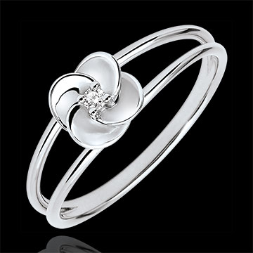 Inel Înflorire - Primul Trandafir - aur alb de 9K şi diamant