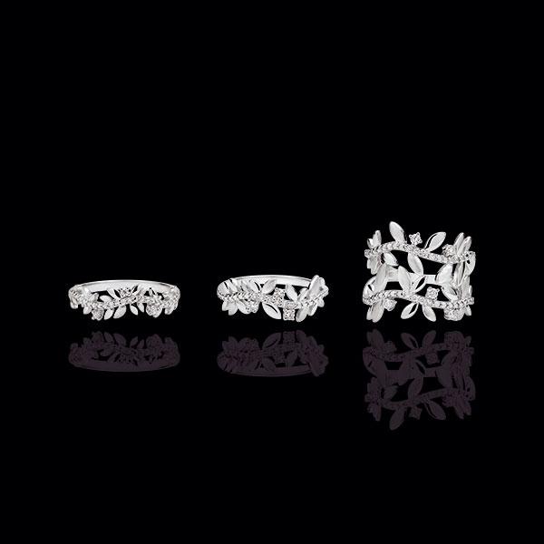 Inel Grădină Fermecată - Frunziş Regal Dublu - diamante şi aur alb de 18K