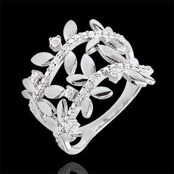 Inel Grădină Fermecată - Frunziş Regal Dublu - diamante şi aur alb de 9K