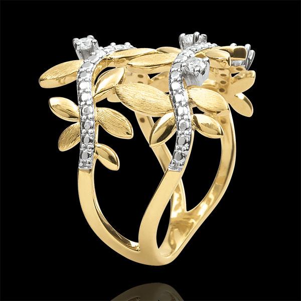 Inel Grădină Fermecată - Frunziş Regal Dublu - diamante şi aur galben de 9K
