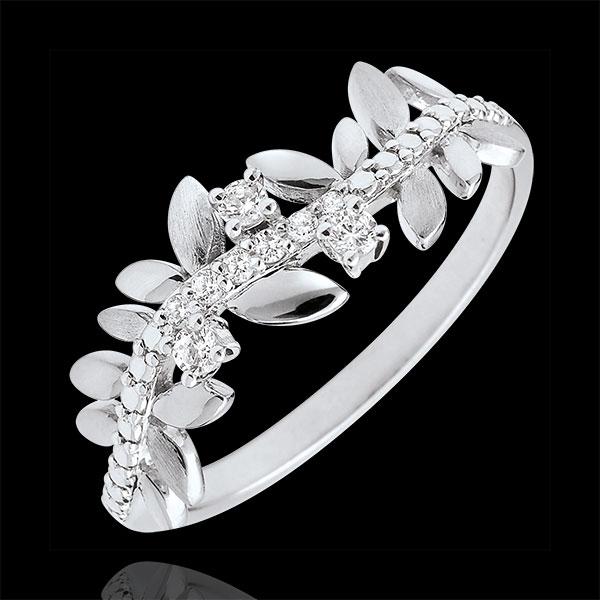 Inel Grădină Fermecată - Frunziş Regal - model mare - diamante şi aur alb de 9K