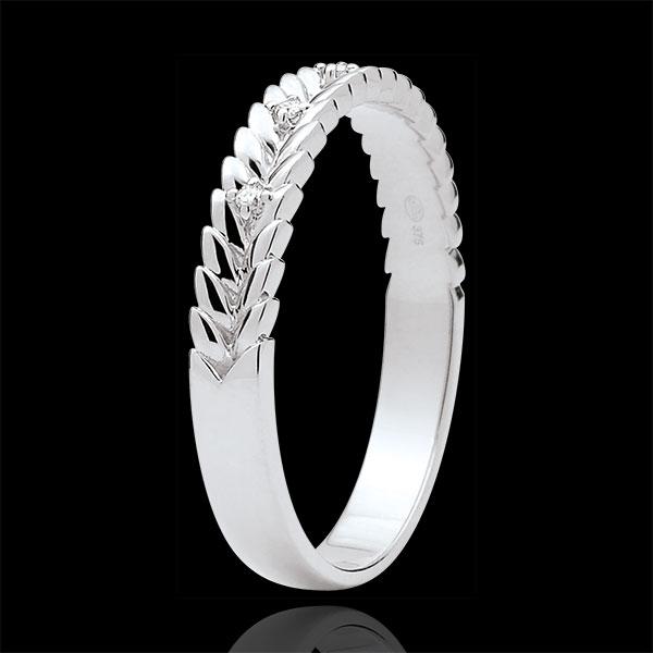 Inel Grădină Fermecată - Împletire Diamant - aur alb de 18K