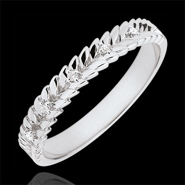 Inel Grădină Fermecată - Împletire Diamant - aur alb de 9K