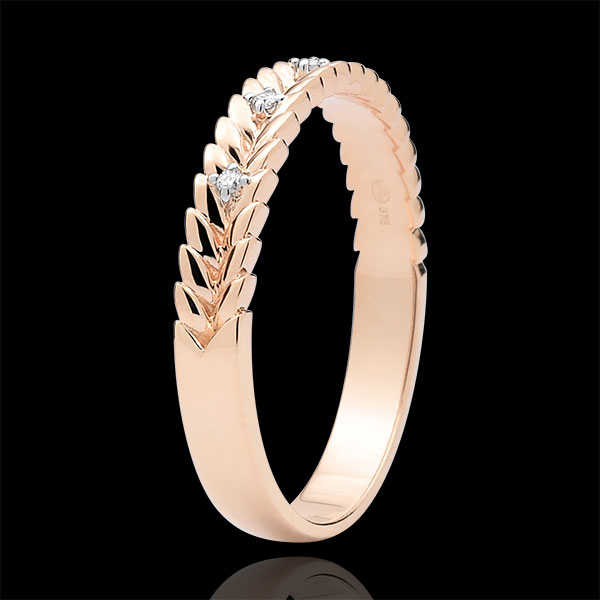 Inel Grădină Fermecată - Împletire Diamant - aur roz de 18K