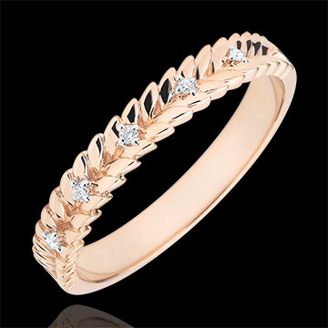 Inel Grădină Fermecată - Împletire Diamant - aur roz de 9K